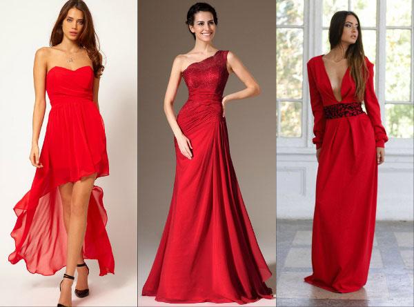 Образ на Новый 2016 год: роковой красный - длинные платья
