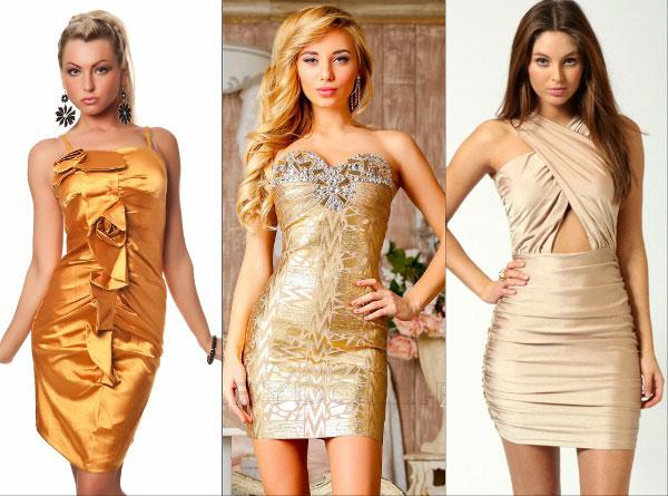 Образ на Новый 2016 год: сверкающее золото - короткие платья
